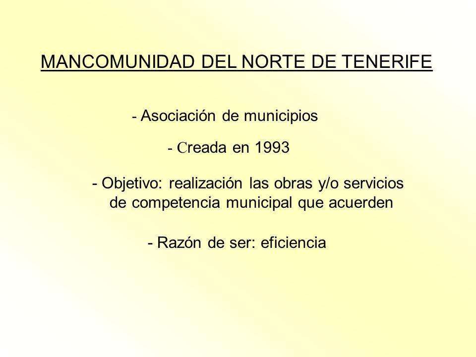 MANCOMUNIDAD DEL NORTE DE TENERIFE - Asociación de municipios - C reada en 1993 - Objetivo: realización las obras y/o servicios de competencia municip