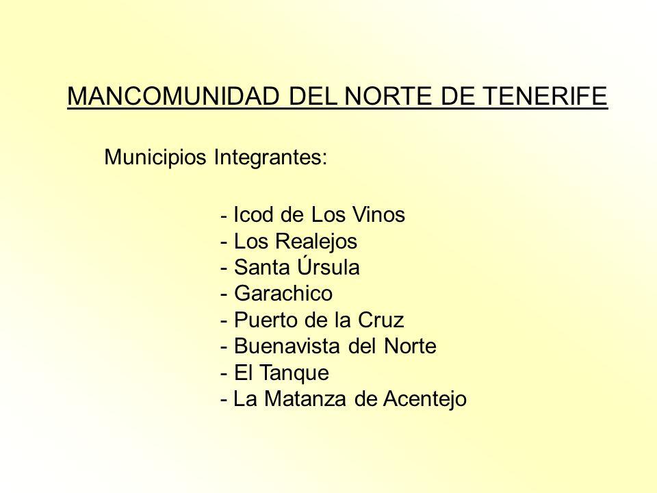 MANCOMUNIDAD DEL NORTE DE TENERIFE Municipios Integrantes: - Icod de Los Vinos - Los Realejos - Santa Úrsula - Garachico - Puerto de la Cruz - Buenavi