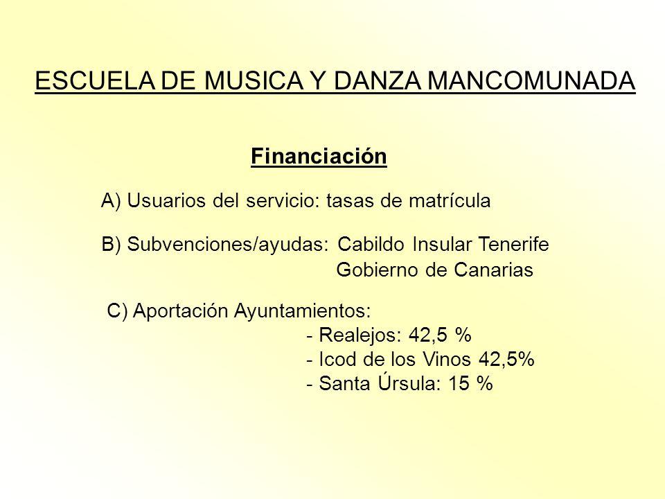 ESCUELA DE MUSICA Y DANZA MANCOMUNADA Financiación A) Usuarios del servicio: tasas de matrícula B) Subvenciones/ayudas: Cabildo Insular Tenerife Gobie