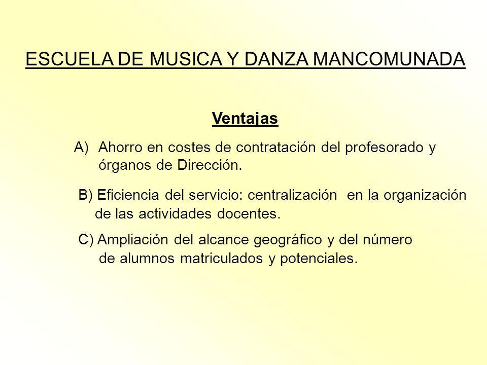 ESCUELA DE MUSICA Y DANZA MANCOMUNADA Ventajas A)Ahorro en costes de contratación del profesorado y órganos de Dirección. B) Eficiencia del servicio: