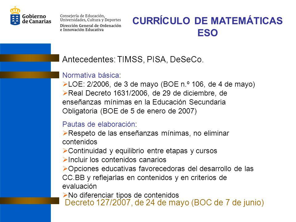 CURRÍCULO DE MATEMÁTICAS ESO Antecedentes: TIMSS, PISA, DeSeCo. Normativa básica: LOE: 2/2006, de 3 de mayo (BOE n.º 106, de 4 de mayo) Real Decreto 1