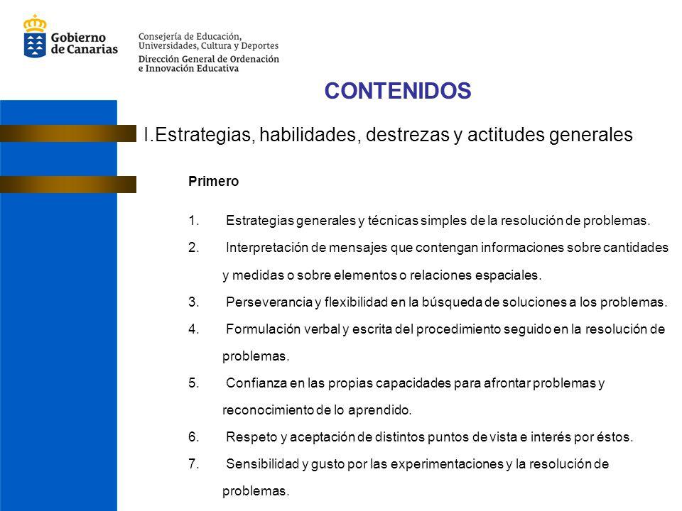 CONTENIDOS I.Estrategias, habilidades, destrezas y actitudes generales Primero 1. Estrategias generales y técnicas simples de la resolución de problem