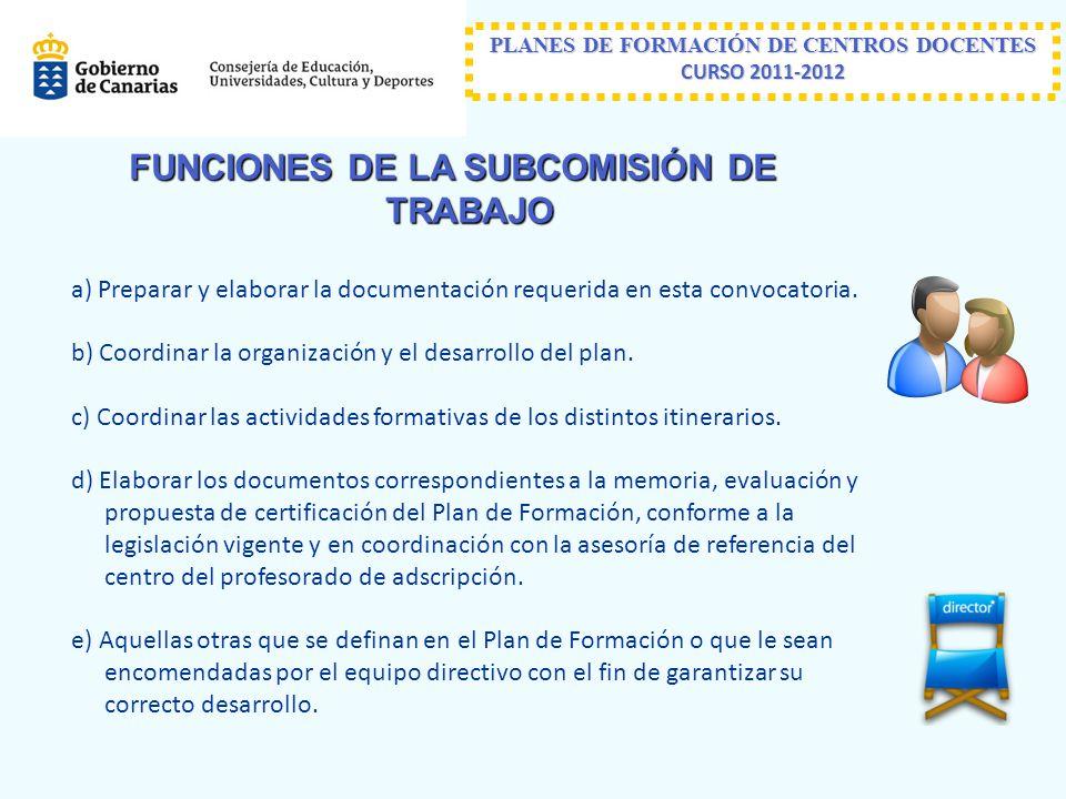 FUNCIONES DE LA SUBCOMISIÓN DE TRABAJO a) Preparar y elaborar la documentación requerida en esta convocatoria.