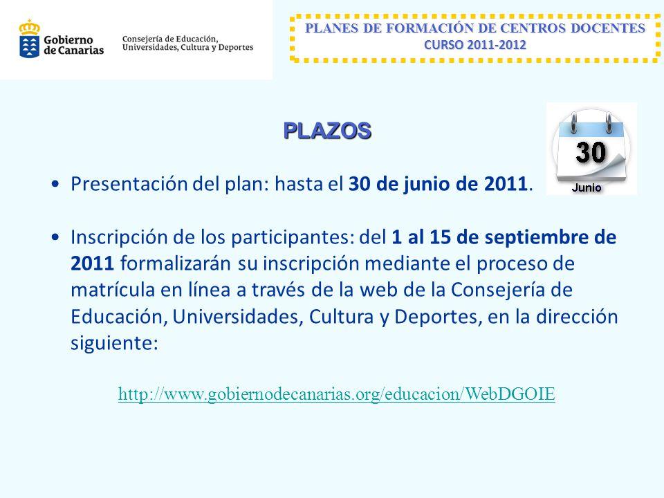 PLANES DE FORMACIÓN DE CENTROS DOCENTES CURSO 2011-2012 PLAZOS Presentación del plan: hasta el 30 de junio de 2011.