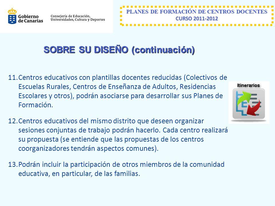 PLANES DE FORMACIÓN DE CENTROS DOCENTES CURSO 2011-2012