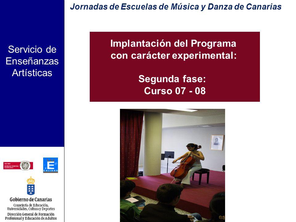 Servicio de Enseñanzas Artísticas Escuelas participantes FUERTEVENTURA Agüimes Programas Avanzados LA PALMA GRAN CANARIA Jornadas de Escuelas de Músic
