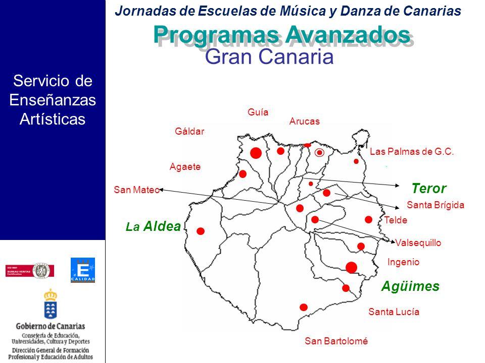Servicio de Enseñanzas Artísticas Criterios de selección de nuevas Escuelas: –Situación geográfica: Gran Canaria: zona centro – norte Tenerife: zona n