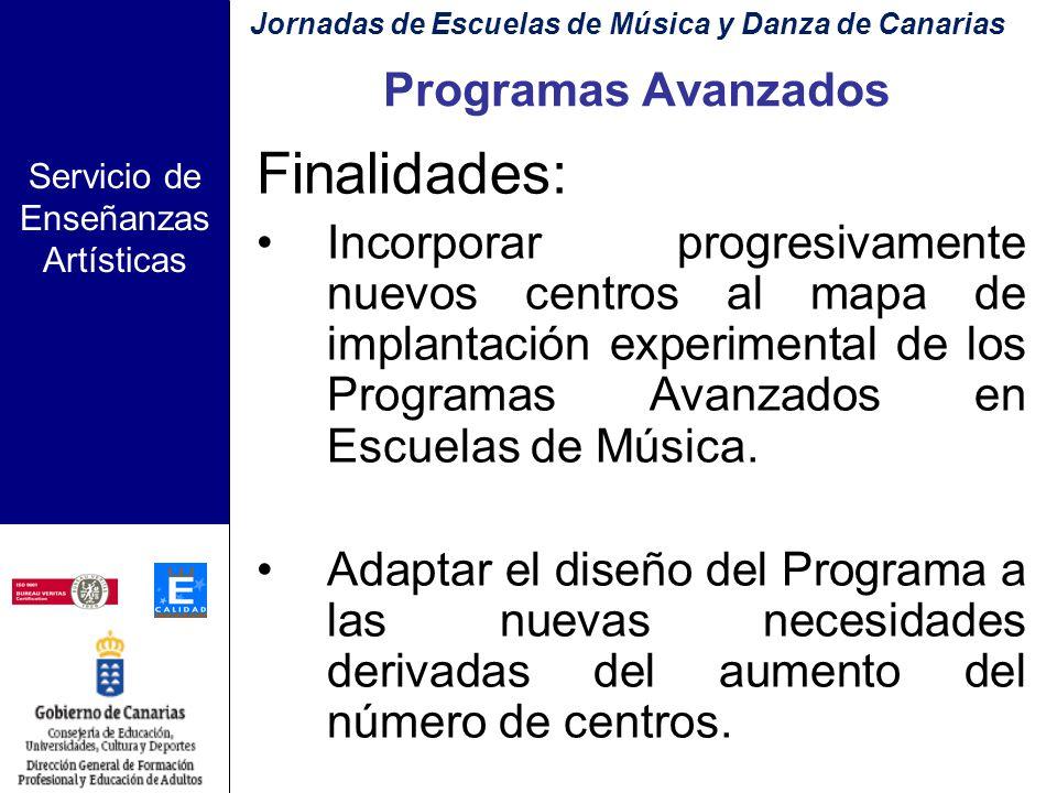 Servicio de Enseñanzas Artísticas Implantación del Programa con carácter experimental: Tercera fase: Curso 08 - 09 Jornadas de Escuelas de Música y Da