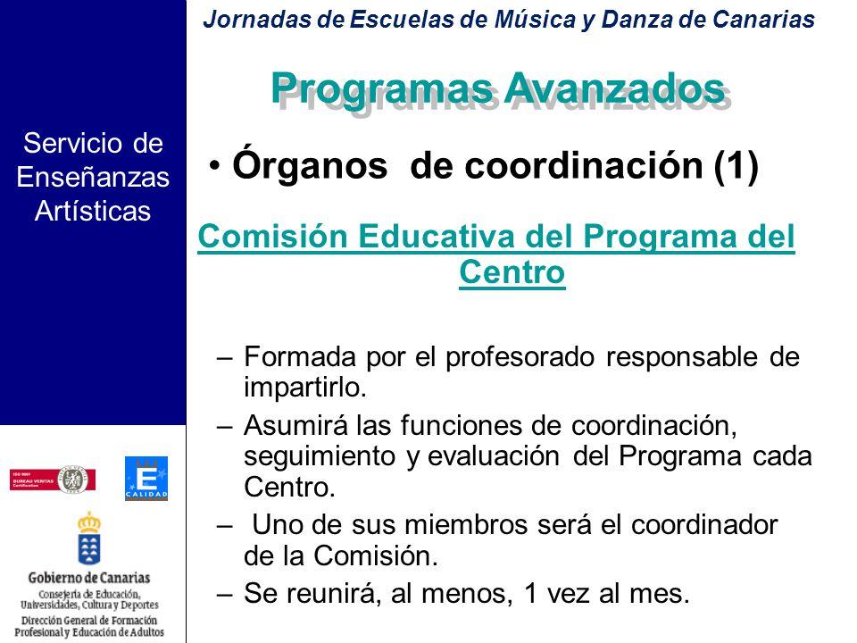 Servicio de Enseñanzas Artísticas Evaluación del Programa Se llevará acabo por: –El profesorado de las Escuelas de Música participantes en el Programa
