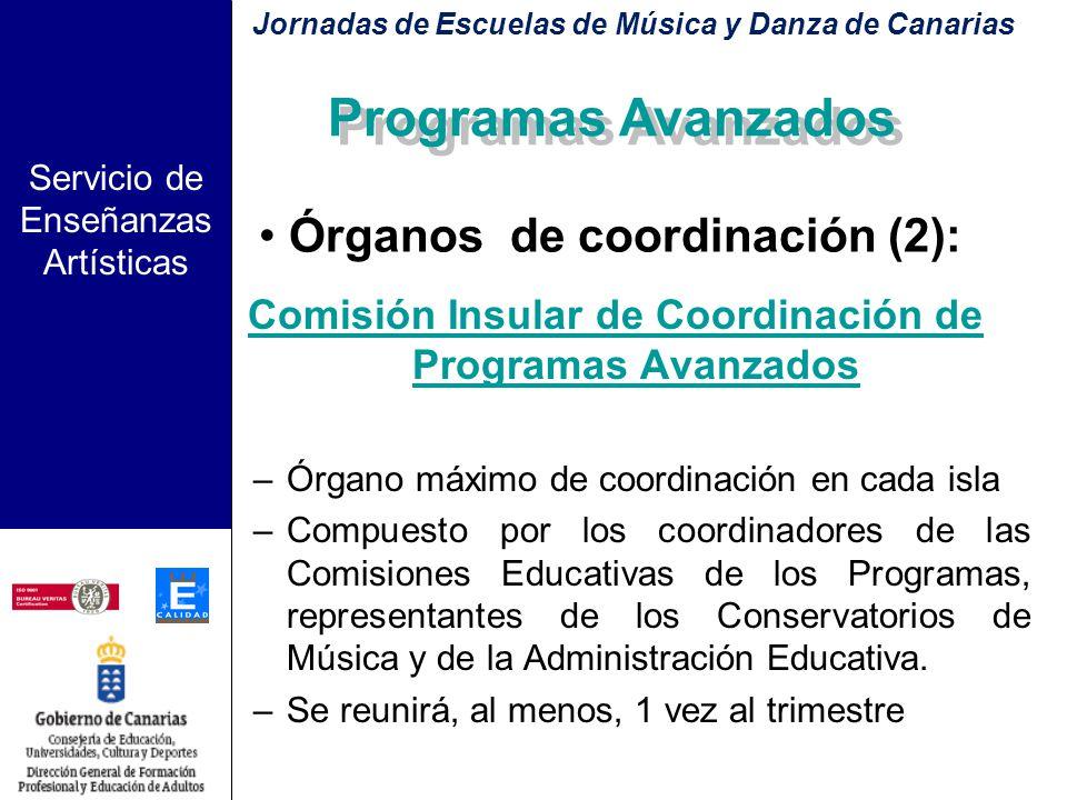 Servicio de Enseñanzas Artísticas Órganos de coordinación (1) Comisión Educativa del Programa del Centro –Formada por el profesorado responsable de im