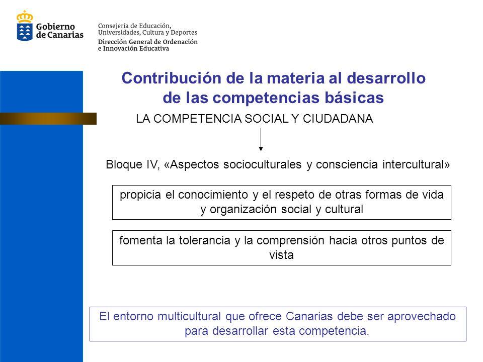 Contribución de la materia al desarrollo de las competencias básicas LA COMPETENCIA SOCIAL Y CIUDADANA Bloque IV, «Aspectos socioculturales y conscien