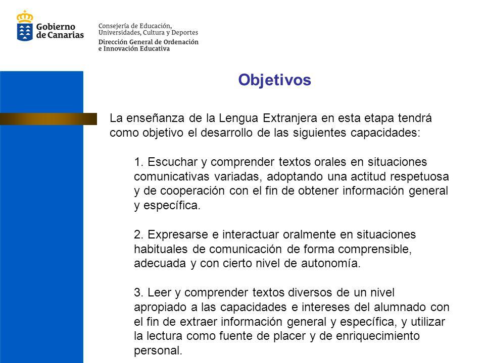 Objetivos La enseñanza de la Lengua Extranjera en esta etapa tendrá como objetivo el desarrollo de las siguientes capacidades: 1. Escuchar y comprende