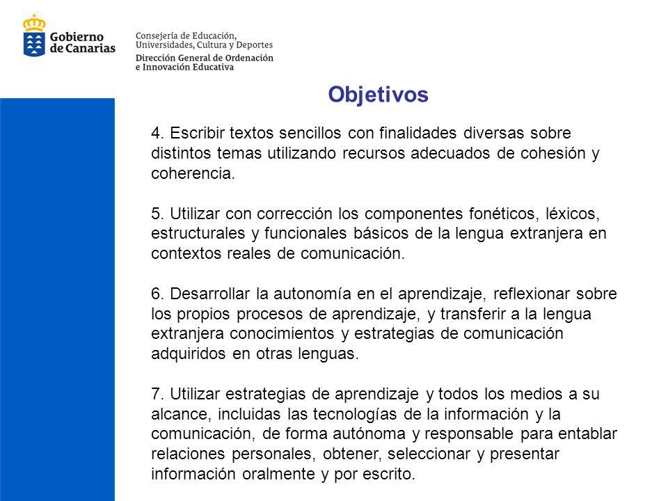 Objetivos 4. Escribir textos sencillos con finalidades diversas sobre distintos temas utilizando recursos adecuados de cohesión y coherencia. 5. Utili