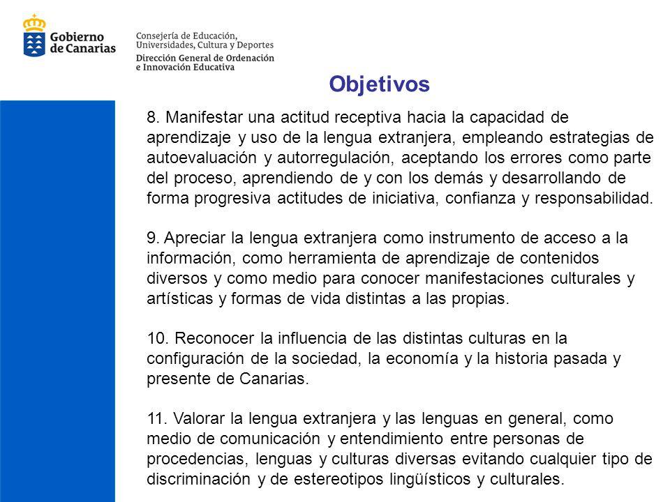 Objetivos 8. Manifestar una actitud receptiva hacia la capacidad de aprendizaje y uso de la lengua extranjera, empleando estrategias de autoevaluación