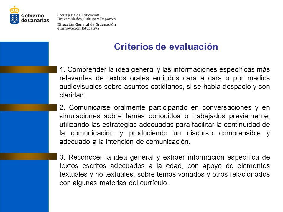 1. Comprender la idea general y las informaciones específicas más relevantes de textos orales emitidos cara a cara o por medios audiovisuales sobre as