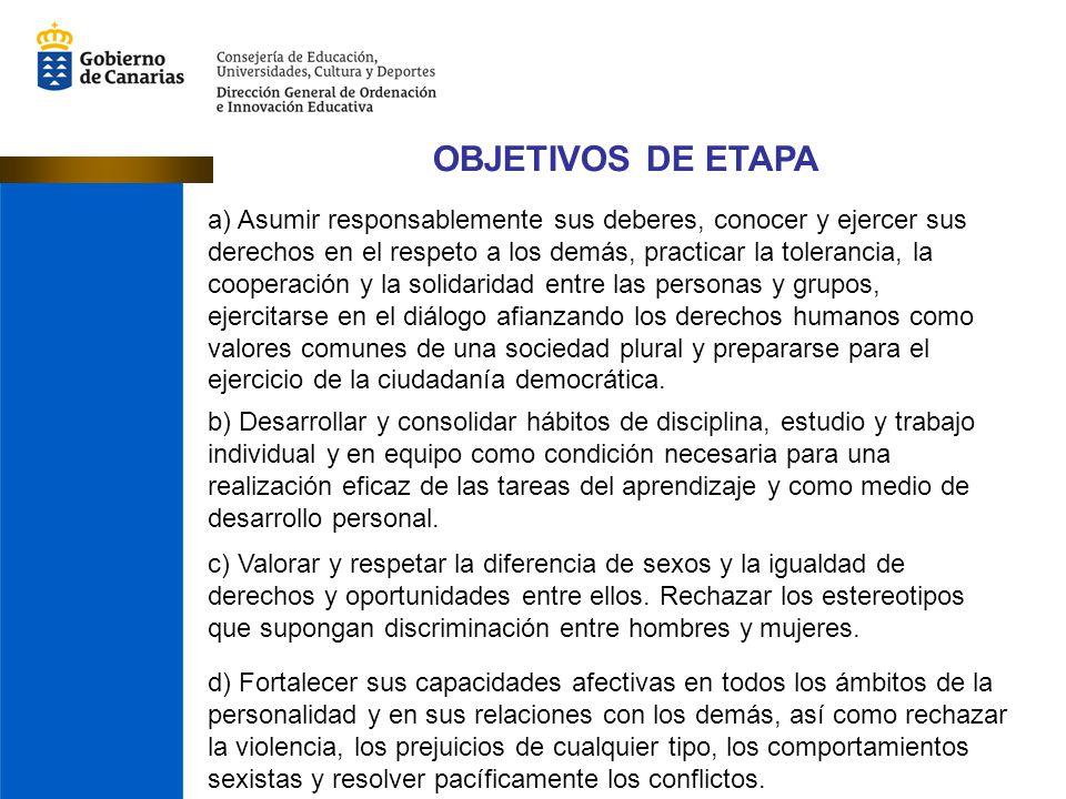 OBJETIVOS DE ETAPA a) Asumir responsablemente sus deberes, conocer y ejercer sus derechos en el respeto a los demás, practicar la tolerancia, la coope