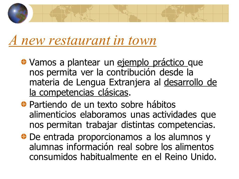 A new restaurant in town Vamos a plantear un ejemplo práctico que nos permita ver la contribución desde la materia de Lengua Extranjera al desarrollo