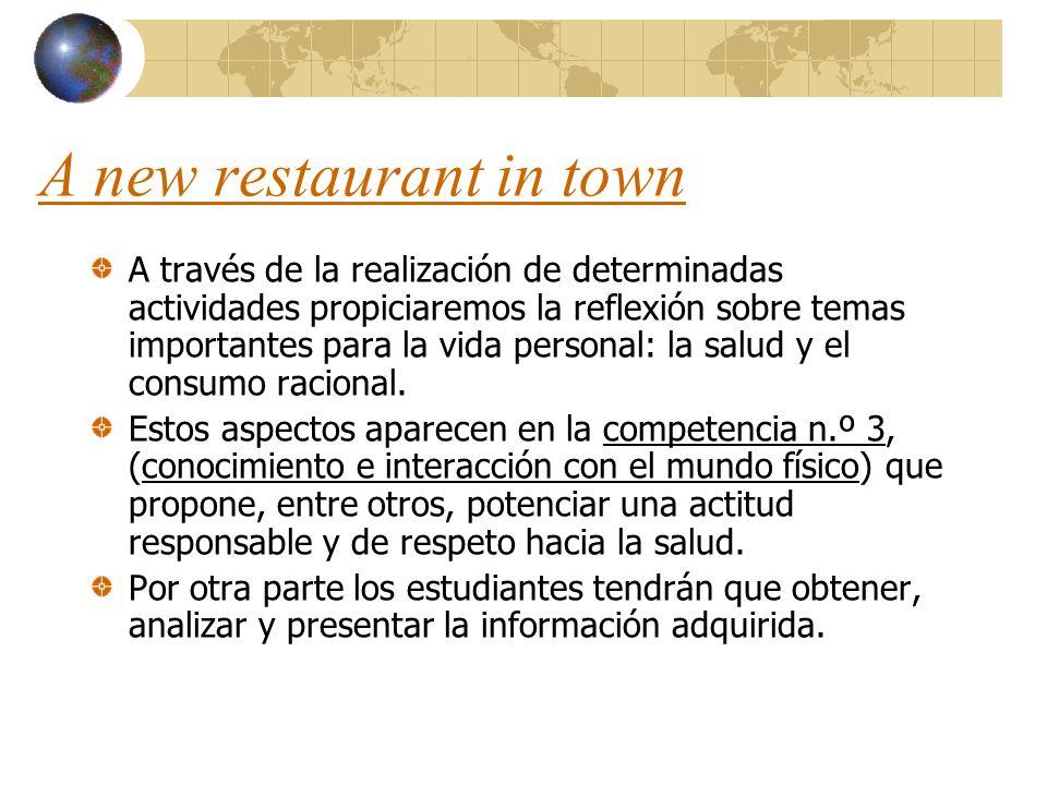 A new restaurant in town A través de la realización de determinadas actividades propiciaremos la reflexión sobre temas importantes para la vida person