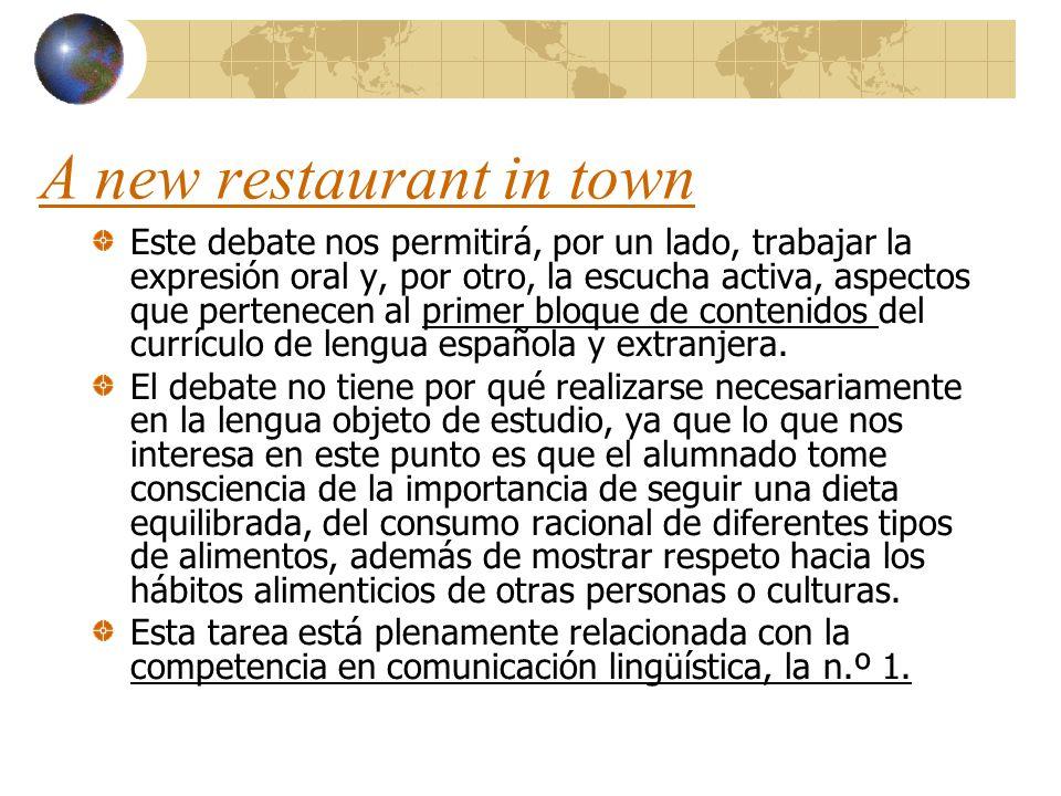 A new restaurant in town Este debate nos permitirá, por un lado, trabajar la expresión oral y, por otro, la escucha activa, aspectos que pertenecen al