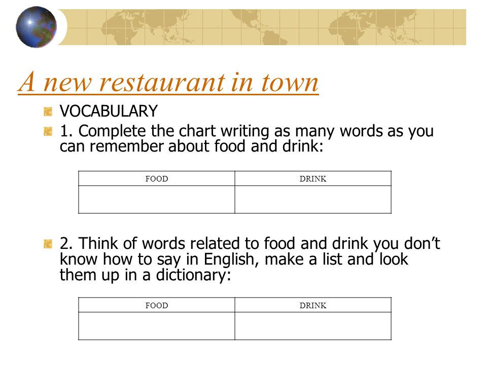 VOCABULARY 1. Complete the chart writing as many words as you can remember about food and drink: 2. Think of words related to food and drink you dont