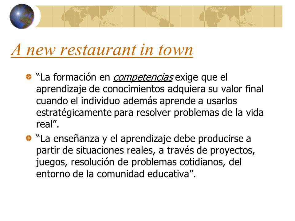A new restaurant in town La formación en competencias exige que el aprendizaje de conocimientos adquiera su valor final cuando el individuo además apr