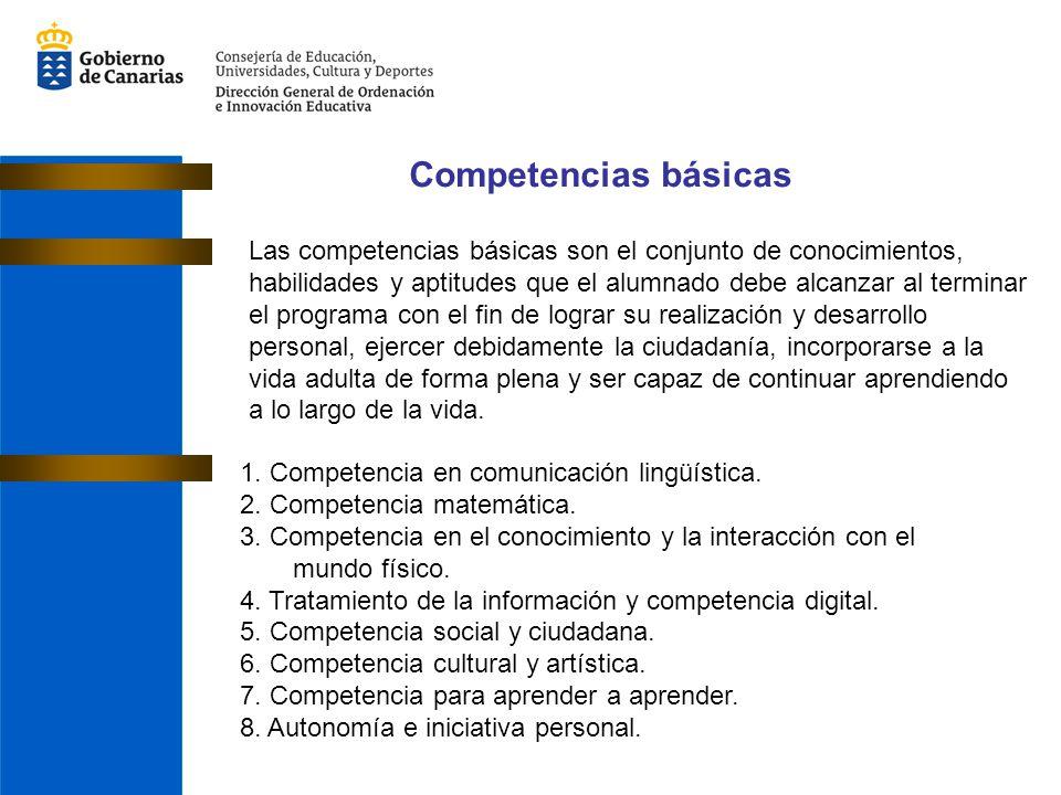 Competencias básicas 1. Competencia en comunicación lingüística. 2. Competencia matemática. 3. Competencia en el conocimiento y la interacción con el