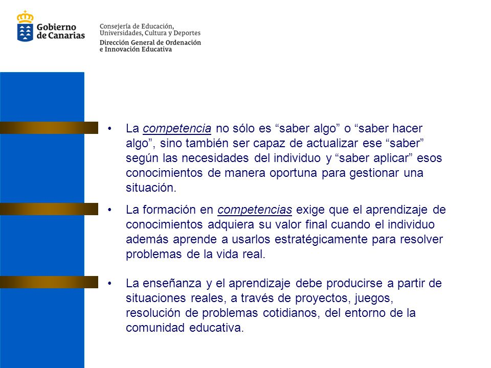 Bloques de contenidos Los contenidos han sido articulados en cuatro bloques: las habilidades lingüísticas en torno a los textos orales (Bloque I, «Escuchar, hablar y conversar») las habilidades lingüísticas referidas a los textos escritos (Bloque II, «Leer y escribir») los elementos constitutivos del sistema lingüístico, su uso y su aprendizaje (Bloque III, «Conocimiento de la lengua: uso y aprendizaje») la dimensión sociocultural de la lengua extranjera (Bloque IV, «Aspectos socioculturales y consciencia intercultural») A continuación vamos a ver un ejemplo de las tablas creadas por la Comisión, en las que se refleja la progresión de los distintos contenidos desde Educación Primaria hasta Cuarto de ESO.