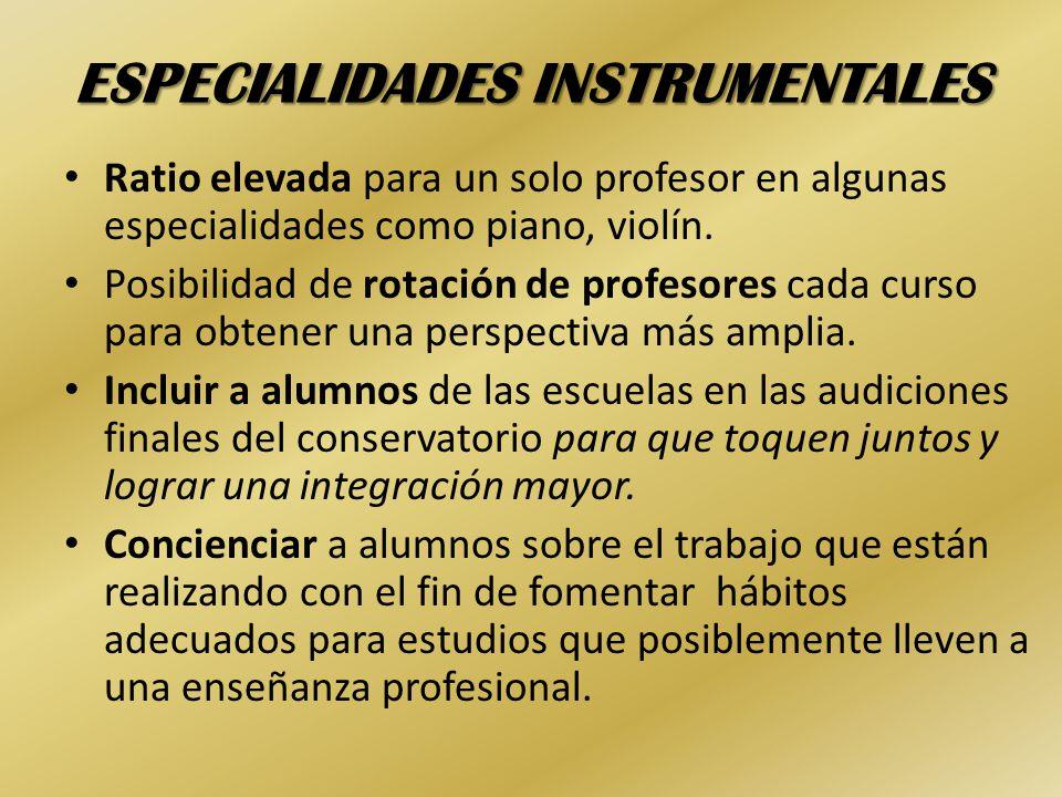 ESPECIALIDADES INSTRUMENTALES Ratio elevada para un solo profesor en algunas especialidades como piano, violín.