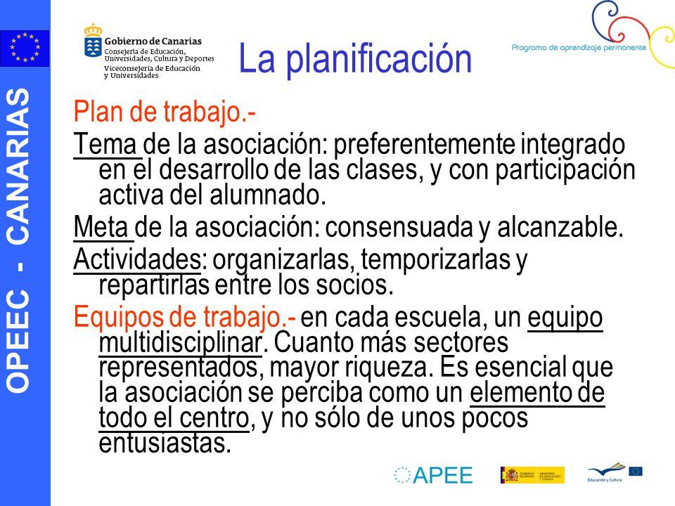 OPEEC - CANARIAS La planificación Plan de trabajo.- Tema de la asociación: preferentemente integrado en el desarrollo de las clases, y con participaci