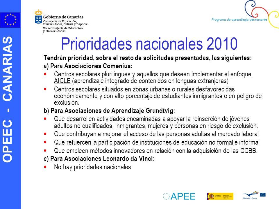 OPEEC - CANARIAS Prioridades nacionales 2010 Tendrán prioridad, sobre el resto de solicitudes presentadas, las siguientes: a) Para Asociaciones Comeni