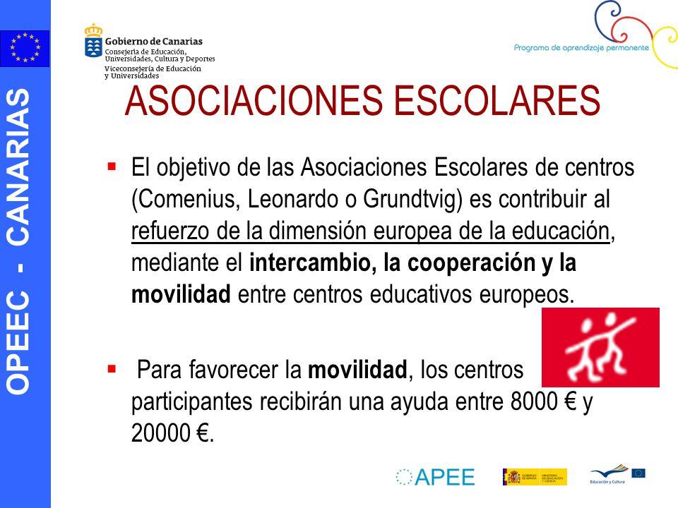 OPEEC - CANARIAS ASOCIACIONES ESCOLARES El objetivo de las Asociaciones Escolares de centros (Comenius, Leonardo o Grundtvig) es contribuir al refuerzo de la dimensión europea de la educación, mediante el intercambio, la cooperación y la movilidad entre centros educativos europeos.