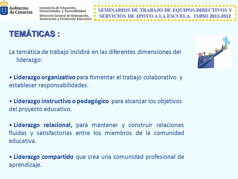 TEMÁTICAS : La temática de trabajo incidirá en las diferentes dimensiones del liderazgo: Liderazgo organizativo para fomentar el trabajo colaborativo y establecer responsabilidades.