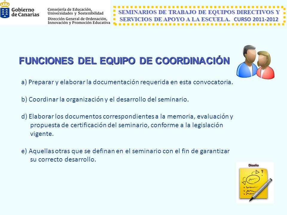 FUNCIONES DEL EQUIPO DE COORDINACIÓN a) Preparar y elaborar la documentación requerida en esta convocatoria.