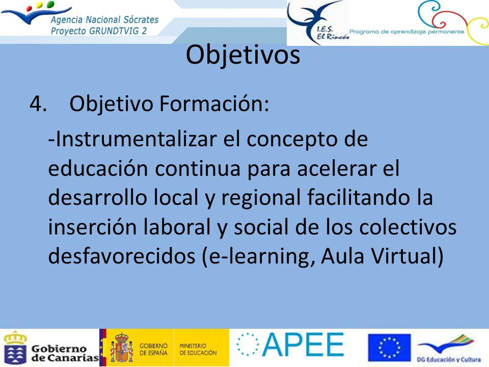 4.Objetivo Formación: -Instrumentalizar el concepto de educación continua para acelerar el desarrollo local y regional facilitando la inserción laboral y social de los colectivos desfavorecidos (e-learning, Aula Virtual) Objetivos