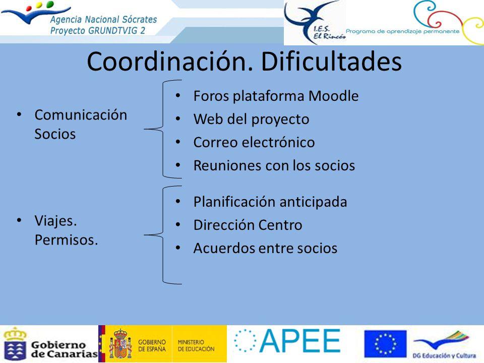 Coordinación. Dificultades Foros plataforma Moodle Web del proyecto Correo electrónico Reuniones con los socios Comunicación Socios Planificación anti