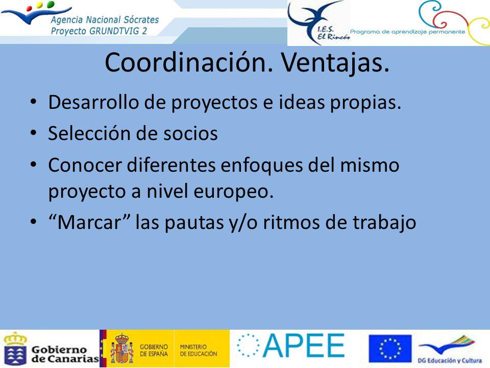Coordinación. Ventajas. Desarrollo de proyectos e ideas propias. Selección de socios Conocer diferentes enfoques del mismo proyecto a nivel europeo. M
