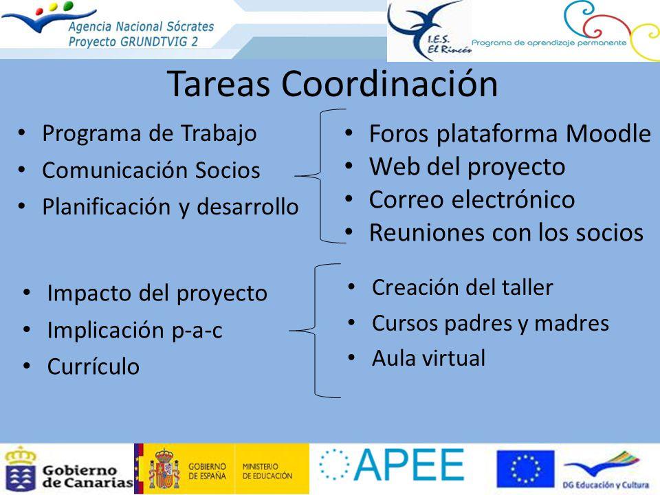 Tareas Coordinación Programa de Trabajo Comunicación Socios Planificación y desarrollo Foros plataforma Moodle Web del proyecto Correo electrónico Reu