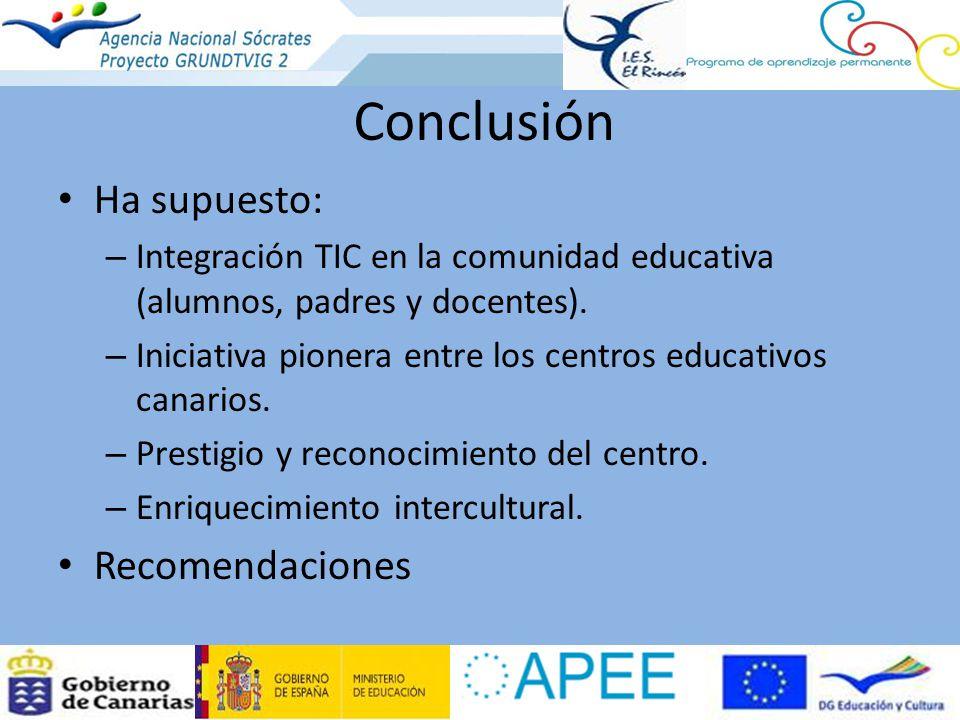 Conclusión Ha supuesto: – Integración TIC en la comunidad educativa (alumnos, padres y docentes). – Iniciativa pionera entre los centros educativos ca