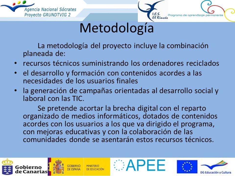 Metodología La metodología del proyecto incluye la combinación planeada de: recursos técnicos suministrando los ordenadores reciclados el desarrollo y