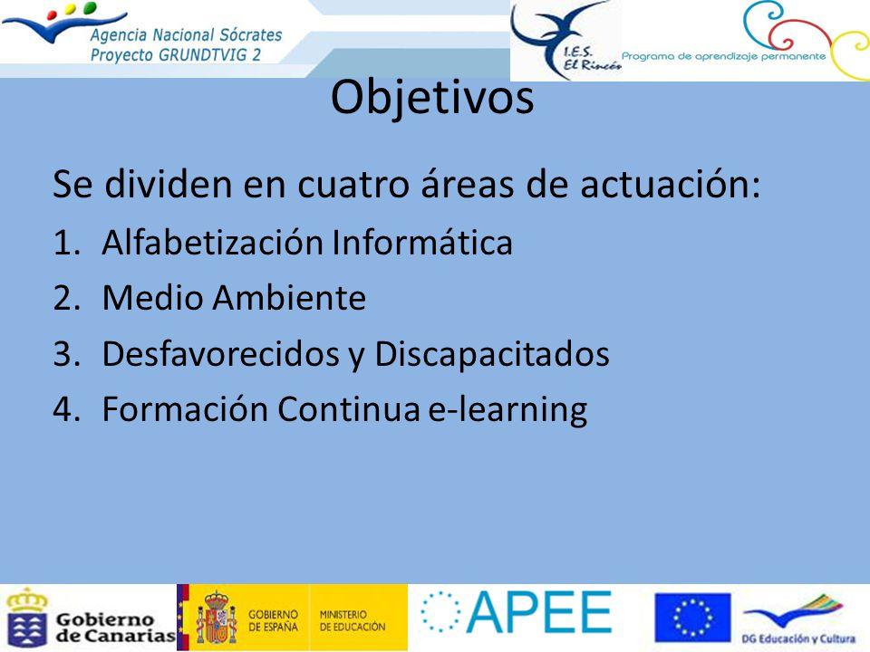 Objetivos Se dividen en cuatro áreas de actuación: 1.Alfabetización Informática 2.Medio Ambiente 3.Desfavorecidos y Discapacitados 4.Formación Continua e-learning