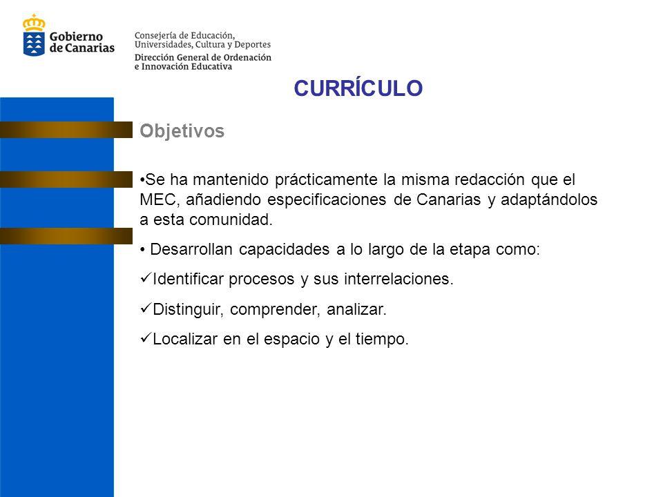CURRÍCULO Objetivos Se ha mantenido prácticamente la misma redacción que el MEC, añadiendo especificaciones de Canarias y adaptándolos a esta comunidad.