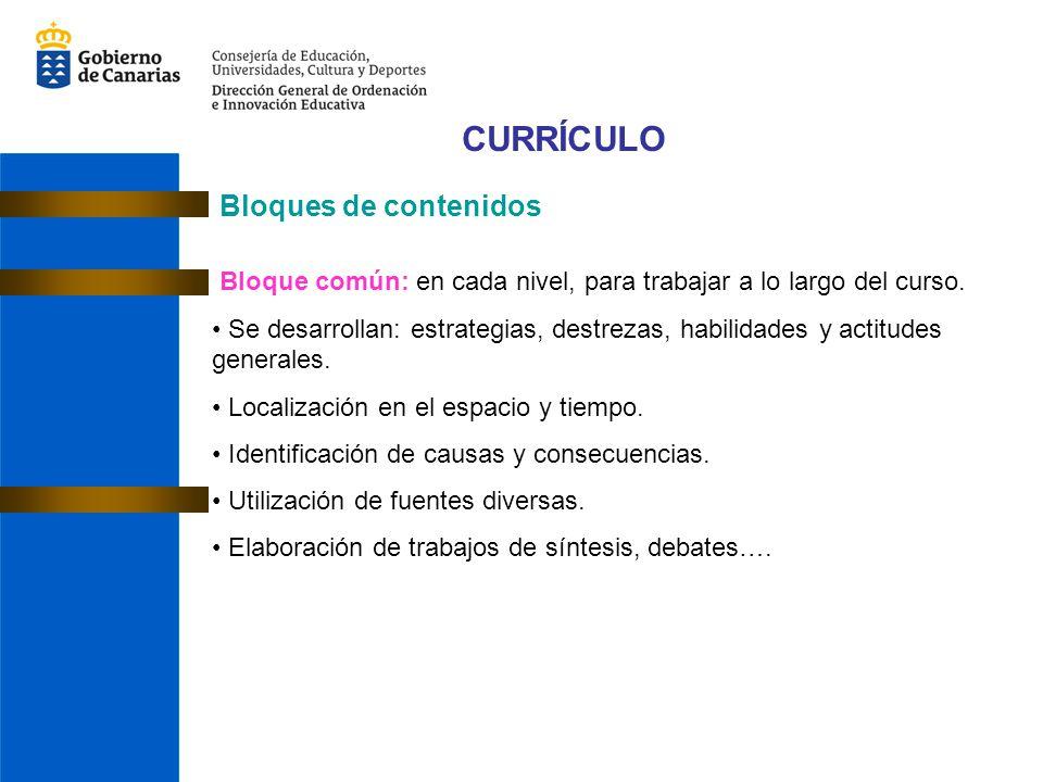 CURRÍCULO Bloques de contenidos Bloque común: en cada nivel, para trabajar a lo largo del curso.