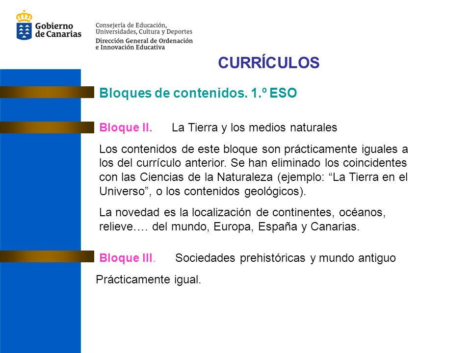 CURRÍCULOS Bloques de contenidos.1.º ESO Bloque II.