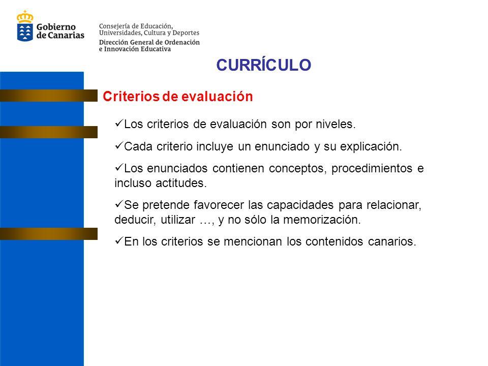 CURRÍCULO Criterios de evaluación Los criterios de evaluación son por niveles.