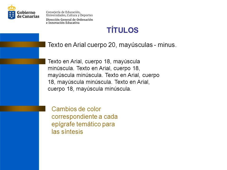 TÍTULOS Texto en Arial cuerpo 20, mayúsculas - minus.