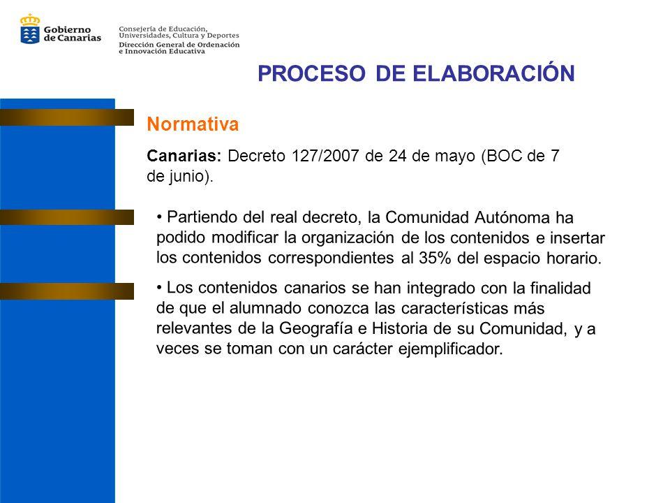 PROCESO DE ELABORACIÓN Normativa Canarias: Decreto 127/2007 de 24 de mayo (BOC de 7 de junio).