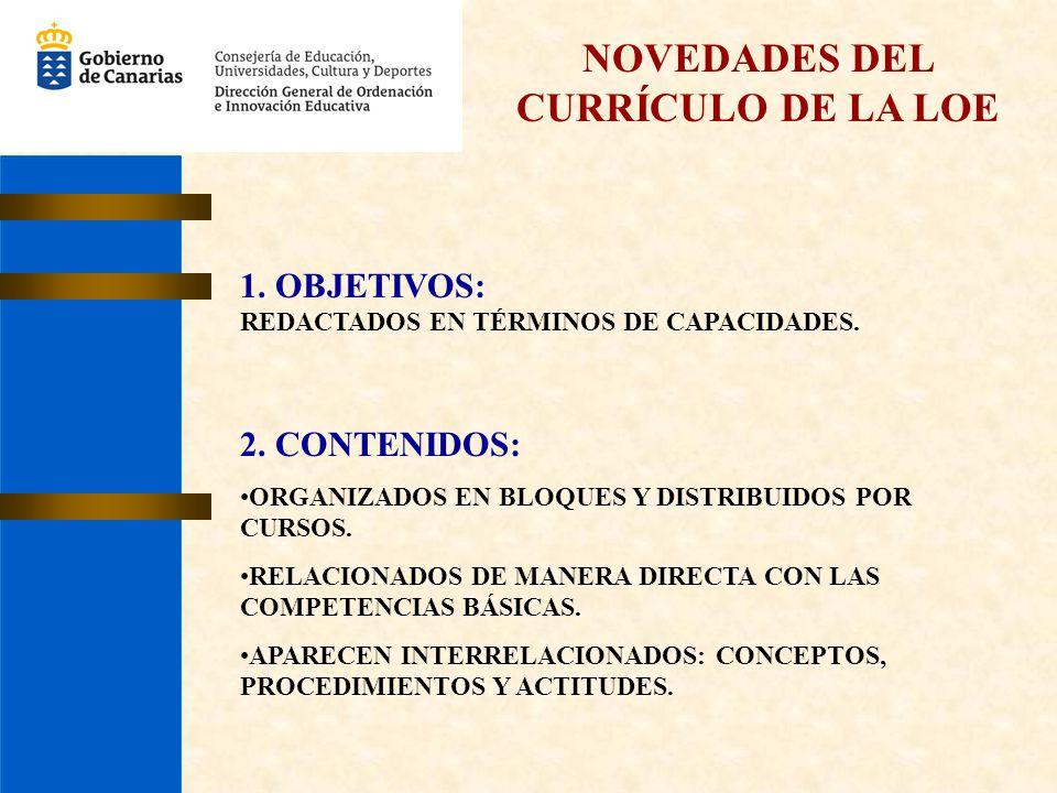 NOVEDADES DEL CURRÍCULO DE LA LOE 2. CONTENIDOS: ORGANIZADOS EN BLOQUES Y DISTRIBUIDOS POR CURSOS. RELACIONADOS DE MANERA DIRECTA CON LAS COMPETENCIAS