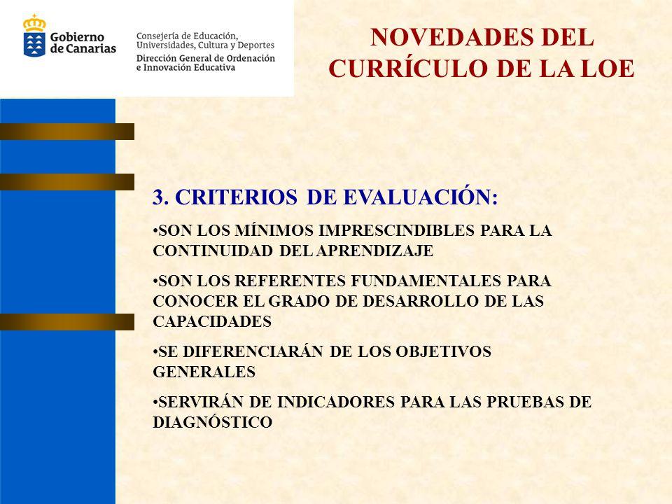NOVEDADES DEL CURRÍCULO DE LA LOE 3. CRITERIOS DE EVALUACIÓN: SON LOS MÍNIMOS IMPRESCINDIBLES PARA LA CONTINUIDAD DEL APRENDIZAJE SON LOS REFERENTES F