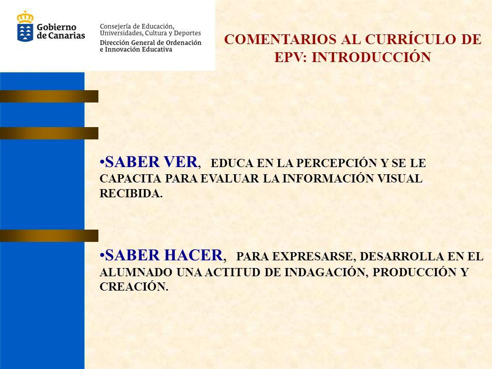 COMENTARIOS AL CURRÍCULO DE EPV: INTRODUCCIÓN SABER VER, EDUCA EN LA PERCEPCIÓN Y SE LE CAPACITA PARA EVALUAR LA INFORMACIÓN VISUAL RECIBIDA. SABER HA
