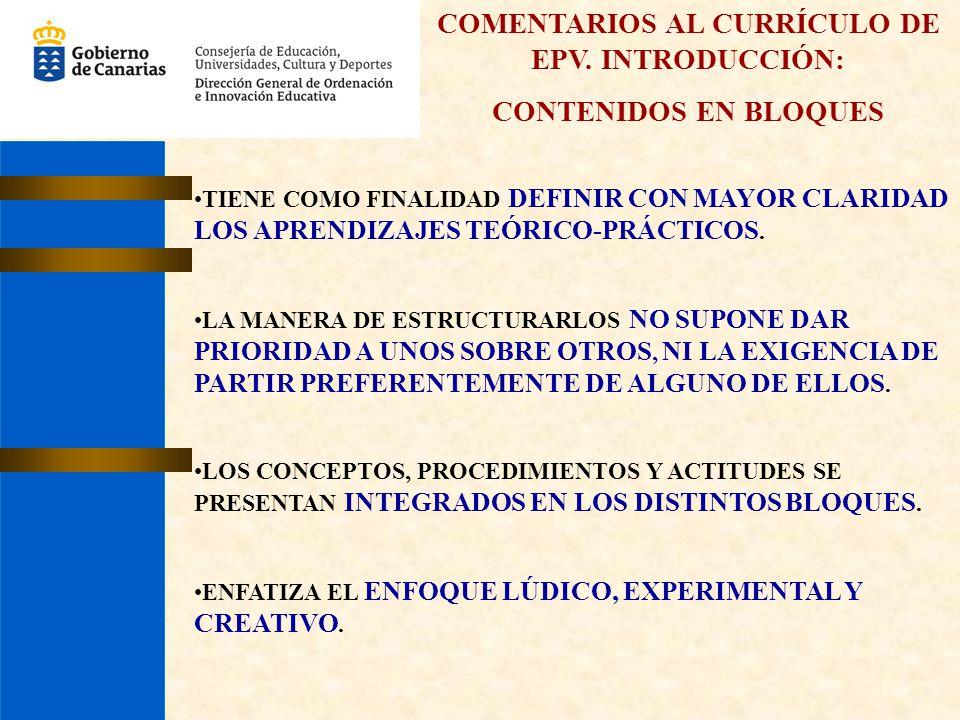 COMENTARIOS AL CURRÍCULO DE EPV. INTRODUCCIÓN: CONTENIDOS EN BLOQUES TIENE COMO FINALIDAD DEFINIR CON MAYOR CLARIDAD LOS APRENDIZAJES TEÓRICO-PRÁCTICO